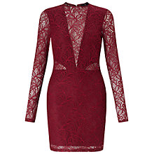 Buy Miss Selfridge Lace Bodycon Dress, Burgundy Online at johnlewis.com