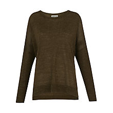Buy Whistles Crew Neck Marl Knit Jumper, Khaki Online at johnlewis.com