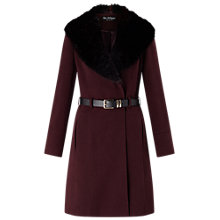 Buy Miss Selfridge Fit And Flare Coat, Burgundy Online at johnlewis.com