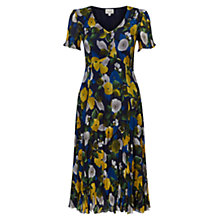Buy East Catrin Print Pleat Dress, Sapphire Online at johnlewis.com