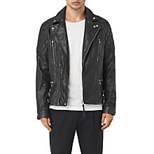 Buy AllSaints Yuku Biker Leather Jacket, Black Online at johnlewis.com