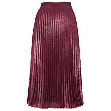 Buy Whistles Kitty Metallic Pleated Skirt, Pink Online at johnlewis.com