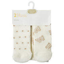 Buy John Lewis Baby Lurex Cotton Rich Tights, Pack of 2, Cream Online at johnlewis.com