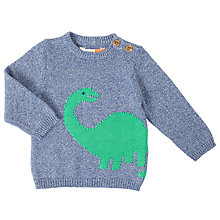 Buy John Lewis Baby Intarsia Dinosaur Jumper, Blue Online at johnlewis.com