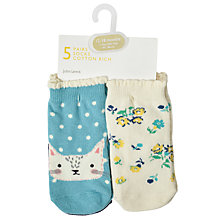 Buy John Lewis Baby Cat and Floral Socks, Pack of 5, Assorted Online at johnlewis.com