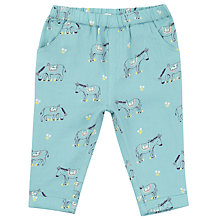 Buy John Lewis Baby Donkey Print Trousers, Aqua Blue Online at johnlewis.com