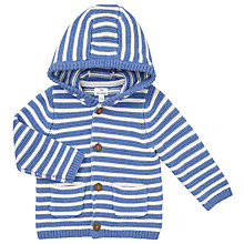 Buy John Lewis Baby's Stripe Hooded Cardigan, Cream/Blue Online at johnlewis.com