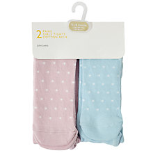Buy John Lewis Baby Cotton Rich Spotted Tights, Pack of 2, Pink/Blue Online at johnlewis.com