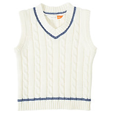 Buy John Lewis Baby Cricket Tank Jumper, Cream Online at johnlewis.com
