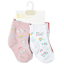 Buy John Lewis Baby Vintage Floral Print Socks, Pack of 5, Multi Online at johnlewis.com