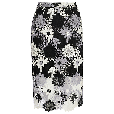True Decadence Crochet Lace Skirt, White/Black