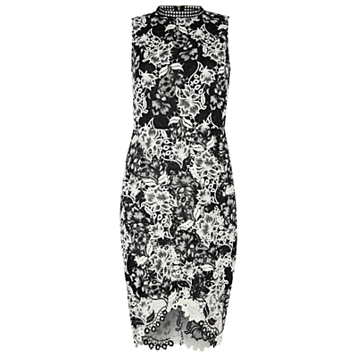 True Decadence Crochet Lace Bodycon Dress, White/Black