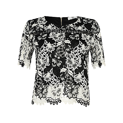 True Decadence Crochet Lace Top, White/Black