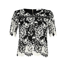 Buy True Decadence Crochet Lace Top, White/Black Online at johnlewis.com