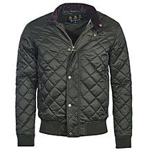 Buy Barbour Moss Quilted Bomber Jacket, Sage Online at johnlewis.com
