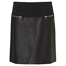 Buy Betty Barclay Faux Leather And Suede Skirt, Black Online at johnlewis.com