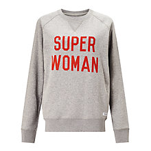 Buy Selfish Mother Super Woman Crew Neck Sweatshirt, Grey/Red Online at johnlewis.com