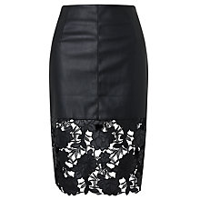 Buy Darling London Suki Faux Leather Fitted Skirt, Black Online at johnlewis.com