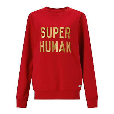 Selfish Mother Super Human Crew Neck Sweatshirt, Red/Gold