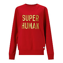 Buy Selfish Mother Super Human Crew Neck Sweatshirt, Red/Gold Online at johnlewis.com