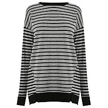 Buy Warehouse Rib Hem Stripe Top, Black Stripe Online at johnlewis.com