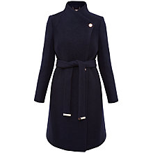 Buy Ted Baker Safiera Textured Long Wrap Coat, Navy Online at johnlewis.com