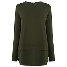 Buy Warehouse Long Sleeve Woven Hem Top Online at johnlewis.com