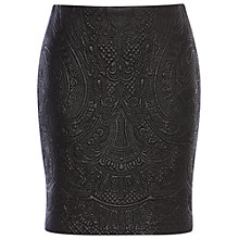 Buy Karen Millen Faux Leather Skirt, Black Online at johnlewis.com