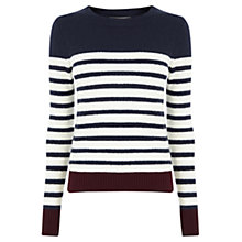 Buy Oasis Stripe Buttoned Jumper, Multi Online at johnlewis.com