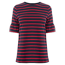 Buy Warehouse Flute Sleeve Top, Red Online at johnlewis.com