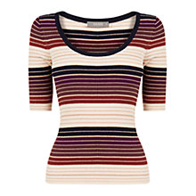 Buy Oasis Strap Scoop Rib Knit Jumper, Multi Online at johnlewis.com