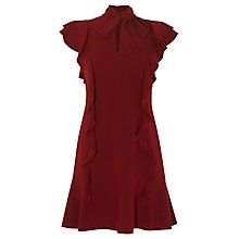 Buy Karen Millen Feminine Ruffle Dress, Dark Red Online at johnlewis.com