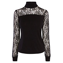 Buy Karen Millen Fitted Turtle Neck Top, Black Online at johnlewis.com