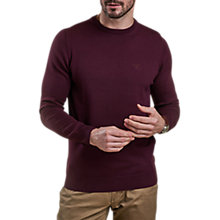 Buy Barbour Pima Cotton Crew Neck Jumper, Burgundy Online at johnlewis.com