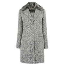 Buy Oasis Felicity Formal Faux Fur Collar Coat, Mid Grey Online at johnlewis.com