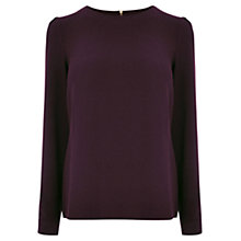 Buy Oasis Crepe Long Sleeve Top, Burgundy Online at johnlewis.com