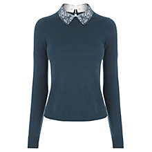 Buy Oasis Lace Collar Jumper, Turquoise Online at johnlewis.com