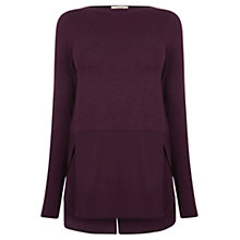 Buy Oasis Warmwear Woven Hem Jumper, Dark Purple Online at johnlewis.com