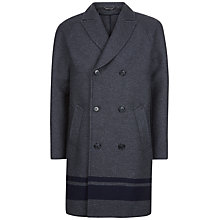 Buy Jaeger Engineered Stripe Overcoat, Charcoal Online at johnlewis.com