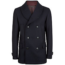 Buy Jaeger Shawl Collar Peacoat, Navy Online at johnlewis.com