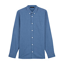 Buy Jaeger Cotton Flannel Gingham Shirt, Blue Online at johnlewis.com