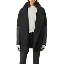Buy AllSaints Meade Lea Coat, Black Online at johnlewis.com