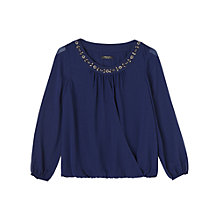 Buy Precis Petite Stacey Beaded Neck Blouse, Navy Online at johnlewis.com