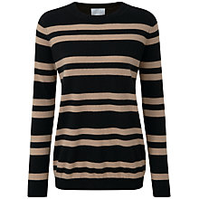 Buy Pure Collection Caitlin Cashmere Boyfriend Sweater, Black/Soft Walnut Online at johnlewis.com