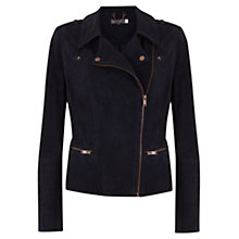 Buy Mint Velvet Suede Biker Jacket, Navy Online at johnlewis.com