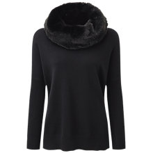Buy Pure Collection Ava Cashmere Faux Fur Trim Poncho, Black Online at johnlewis.com