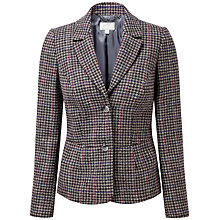 Buy Pure Collection Rosalie Textured Wool Blazer, Grey/Coloured Check Online at johnlewis.com