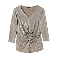 Buy Precis Petite Jenny V Neck Top, Gold Online at johnlewis.com
