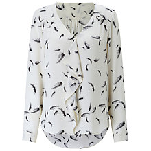 Buy Jacques Vert Feather Print Blouse, White/Multi Online at johnlewis.com
