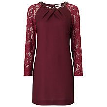 Buy Jacques Vert Petite Lace Sleeve Tunic, Mid Purple Online at johnlewis.com